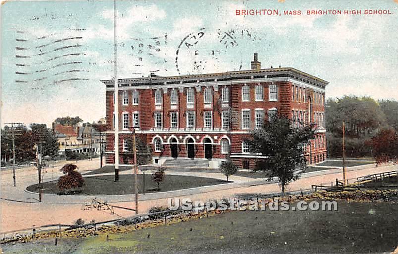Brighton High School - Massachusetts MA Postcard