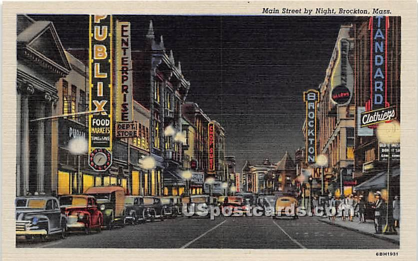 Main Street by Night - Brockton, Massachusetts MA Postcard
