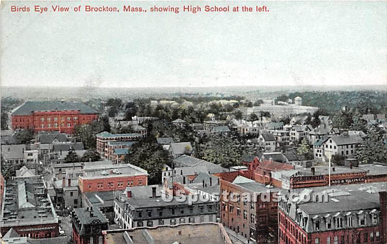 Birds Eye View Showing High School - Brockton, Massachusetts MA Postcard