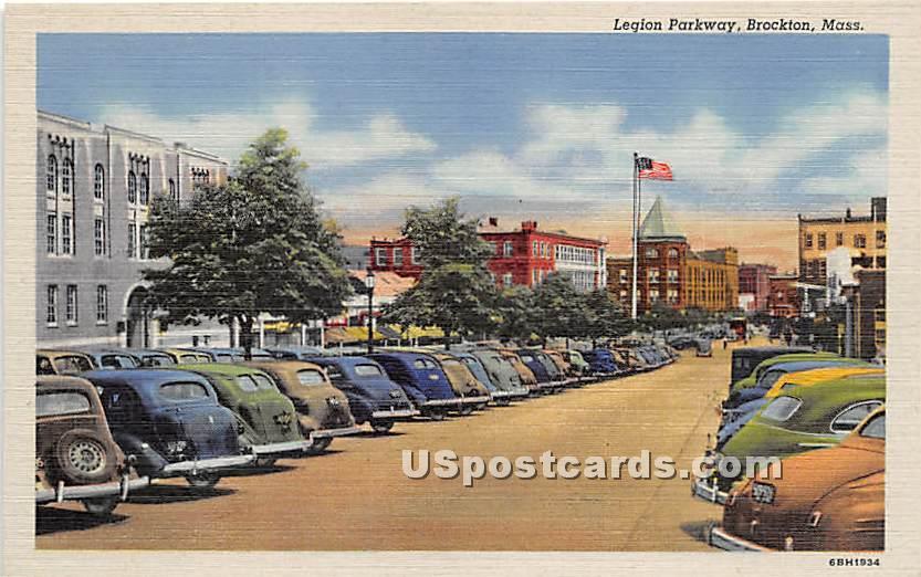 Legion Parkway - Brockton, Massachusetts MA Postcard