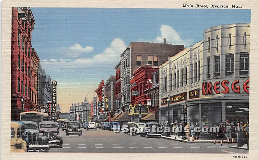 Main Street - Brockton, Massachusetts MA Postcard