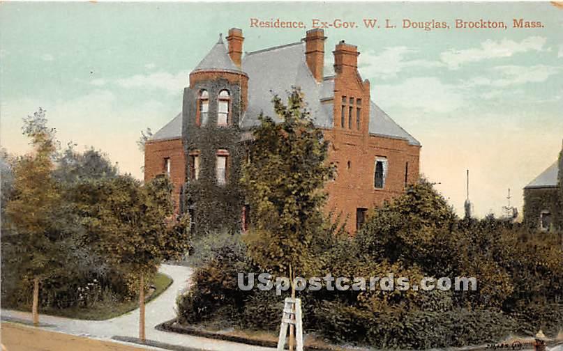 Residence of Ex Gov WL Douglas - Brockton, Massachusetts MA Postcard
