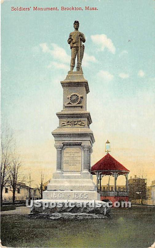 Soldiers Monument - Brockton, Massachusetts MA Postcard
