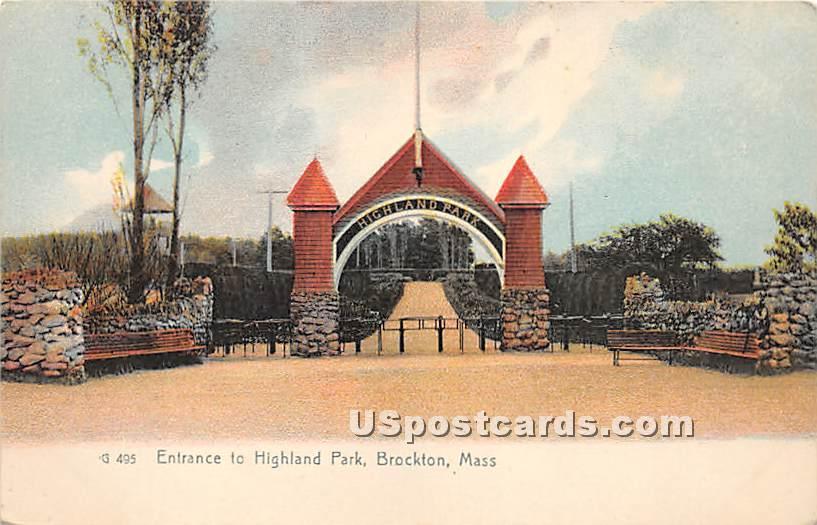 Entrance to Highland Park - Brockton, Massachusetts MA Postcard