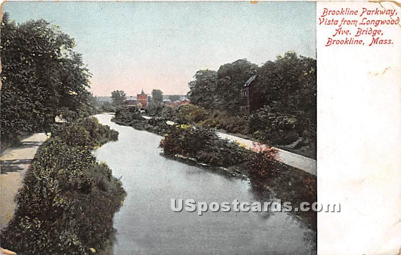 Brookline Parkway, Vista from Longwood Ave Bridge - Massachusetts MA Postcard