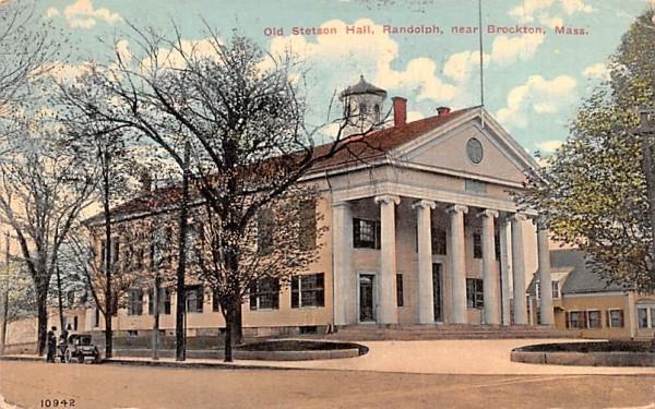 Old Stetson Hall, Randolph Brockton, Massachusetts Postcard