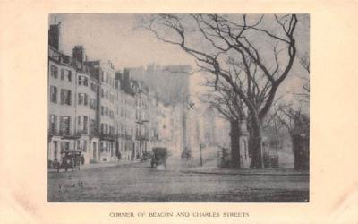 Corner of Beacon & Charles Streets Boston, Massachusetts Postcard