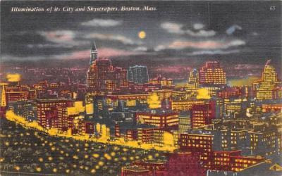 Illumination of its City & Skycrapers Boston, Massachusetts Postcard
