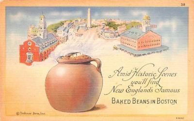 Baked Beans in Boston Massachusetts Postcard