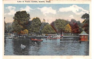 Lake in Public Garden Boston, Massachusetts Postcard