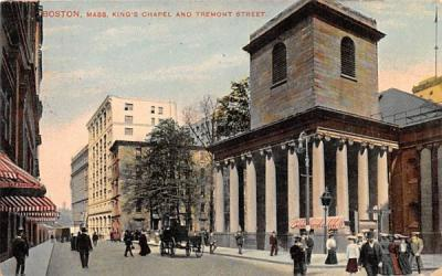 King's Chapel & Tremont Street Boston, Massachusetts Postcard