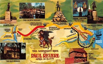 The Midnight Ride of Paul Revere Boston, Massachusetts Postcard