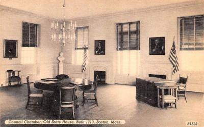 Council Chamber Boston, Massachusetts Postcard