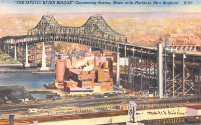 The Mystic River Bridge Boston, Massachusetts Postcard