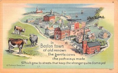 In Boston Town Massachusetts Postcard