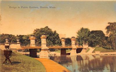 Bridge in Public Garden Boston, Massachusetts Postcard