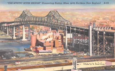 The Mystic River Bridge Boston, Massachusetts Postcard