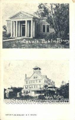 Hotel Pines & Public Library - Cotuit, Massachusetts MA Postcard
