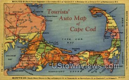 Auto Map - Cape Cod, Massachusetts MA Postcard