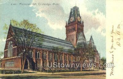 Memorial Hall - Cambridge, Massachusetts MA Postcard