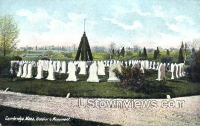 Soldiers Monument - Cambridge, Massachusetts MA Postcard