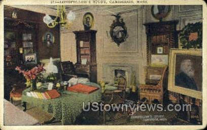 Study, Longfellow's Home - Cambridge, Massachusetts MA Postcard