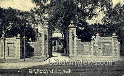 Memorial Gate, Harvard College - Cambridge, Massachusetts MA Postcard