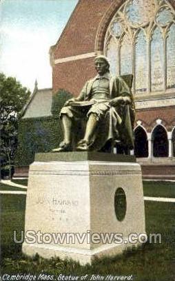 Statue of John Harvard - Cambridge, Massachusetts MA Postcard