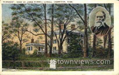 Home of James Russell Lowell - Cambridge, Massachusetts MA Postcard