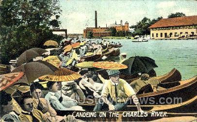 Canoeing, Charles River - Cambridge, Massachusetts MA Postcard