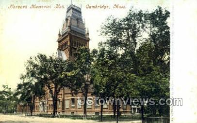Harvard Memorial Hall - Cambridge, Massachusetts MA Postcard