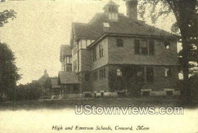 High & Emerson Schools - Concord, Massachusetts MA Postcard