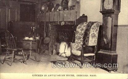 Kitchen, Antiquarian House - Concord, Massachusetts MA Postcard