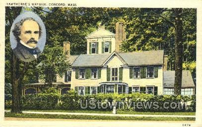 Hawthorne's Home - Concord, Massachusetts MA Postcard