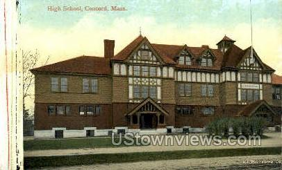 High School - Concord, Massachusetts MA Postcard