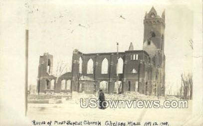 Ruins of First Baptist Church - Chelsea, Massachusetts MA Postcard