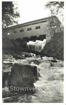 Real Photo - Covered Bridge - Charlemont, Massachusetts MA Postcard