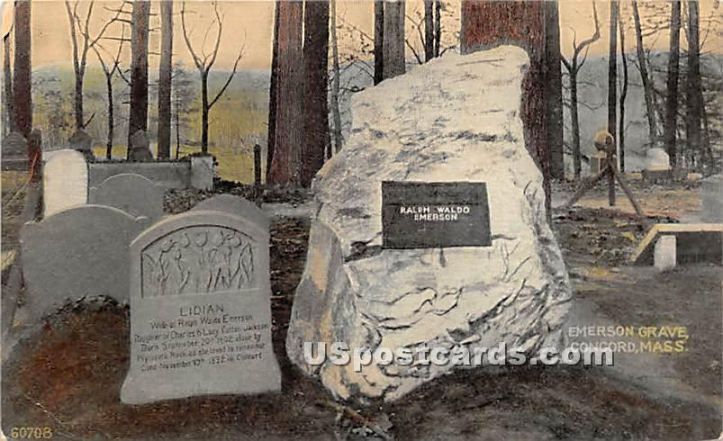 Emerson Grave - Concord, Massachusetts MA Postcard