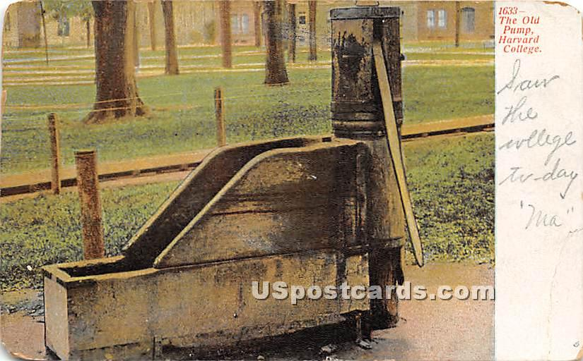 The Old Pump at Harvard College - Cambridge, Massachusetts MA Postcard