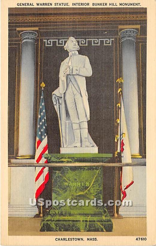 General Warren Statue interior Bunker Hill Monument - Charlestown, Massachusetts MA Postcard