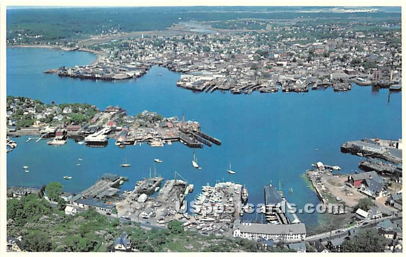 Air View of Gloucester Harbor and Rocky Neck - Cape Ann, Massachusetts MA Postcard