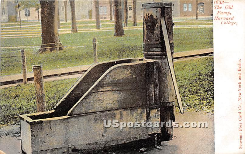 The Old Pump at Harvard College - Cambridge, Massachusetts MA Postcard