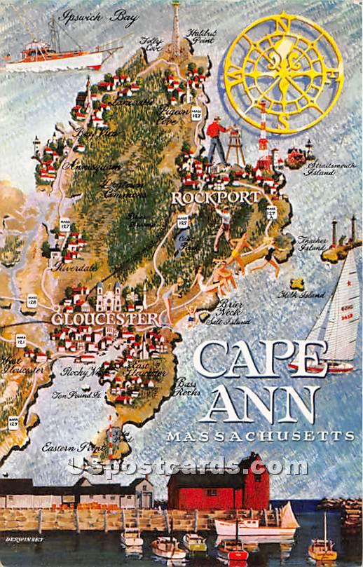 Map - Cape Ann, Massachusetts MA Postcard