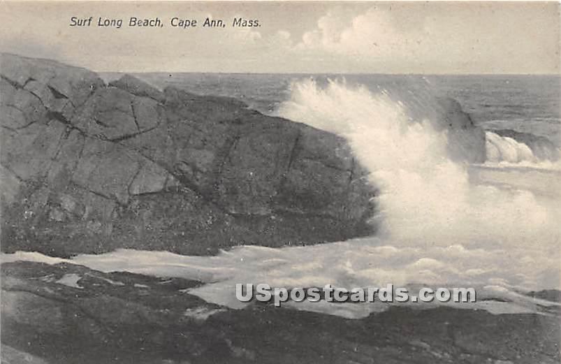 Surf Long Beach - Cape Ann, Massachusetts MA Postcard