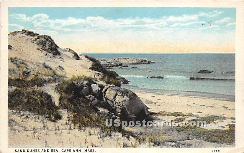Sand Dunes and Sea - Cape Ann, Massachusetts MA Postcard