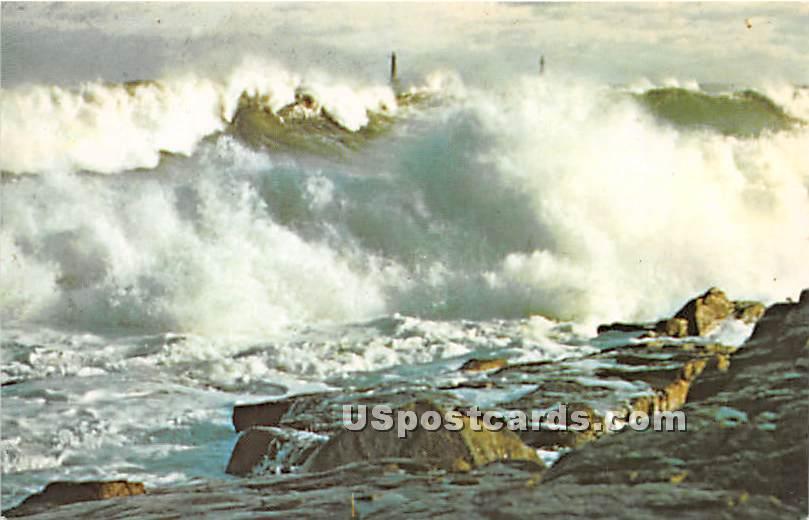 Pounding Surf off Rockport - Cape Ann, Massachusetts MA Postcard