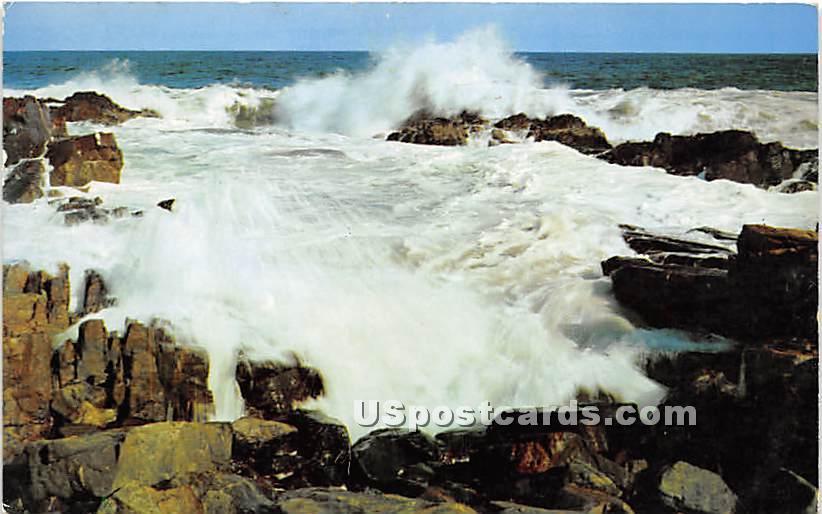 Pounding Surf along the Rugged Coast - Cape Ann, Massachusetts MA Postcard