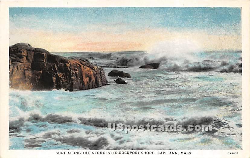 Surf along the Gloucester Rockport Shore - Cape Ann, Massachusetts MA Postcard