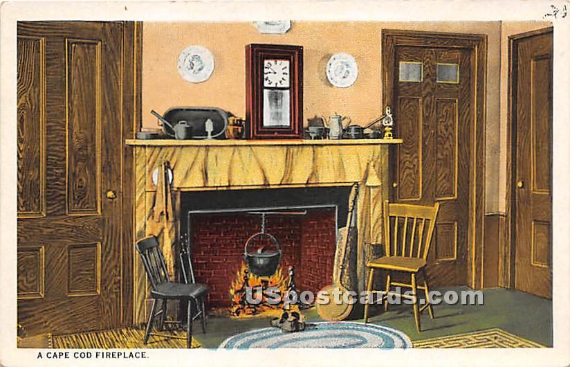 A Cape Cod Fireplace - Massachusetts MA Postcard