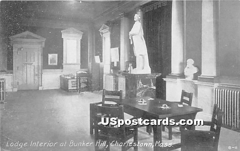 Lodge Interior at Bunker Hill - Charlestown, Massachusetts MA Postcard